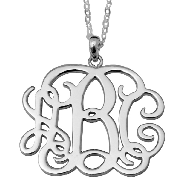 1.25inch Monogram Necklace - 925 Sterling Silver 100% Handmade