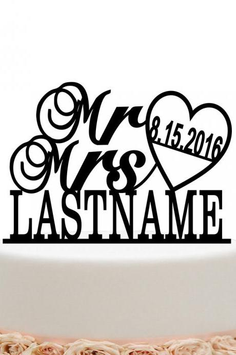 Mr And Mrs Wedding Cake Topper Personalized Date And Last Name