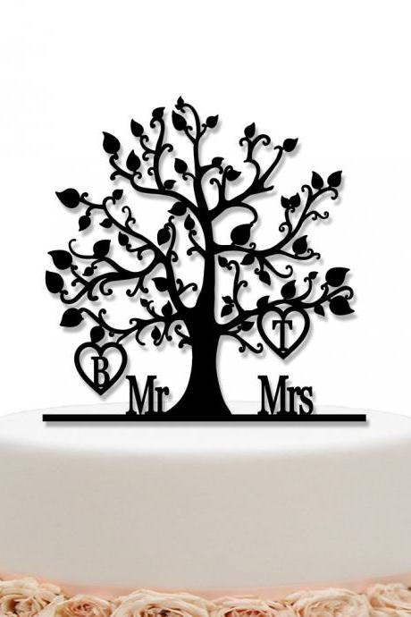 Tree Wedding Cake Topper Personalized Custom Initial Name