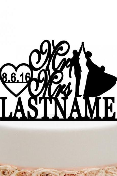 Mr And Mrs Wedding Cake Topper Personalized Bride And Groom
