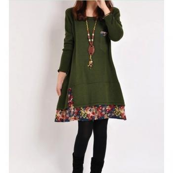 Green Woman Dress Lady Cotton Solid Floral Loose Long Casual Leisure Long sleeve(0016)